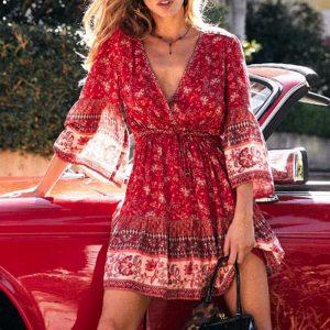 Bohemian Short Dress With Long Sleeve
