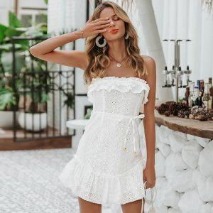 White Bohemian Chic Short Dress