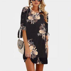 Short dress bohemian style flowery