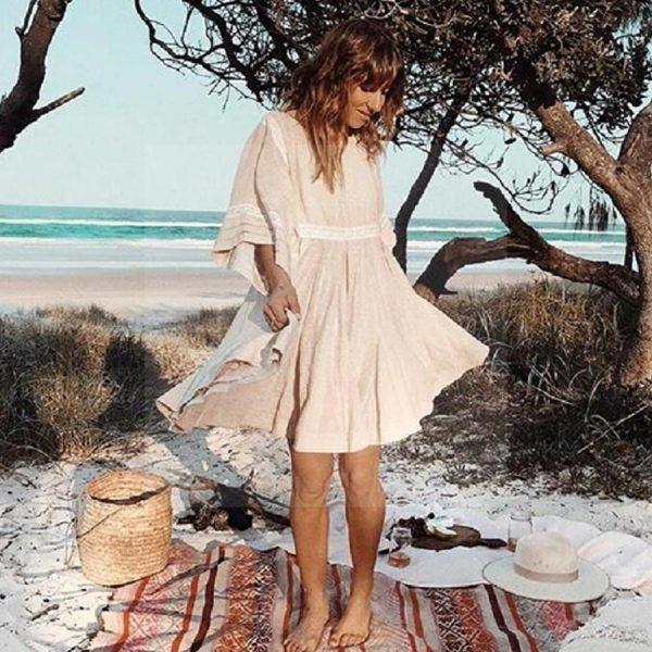 Beige hippie bohemian dress