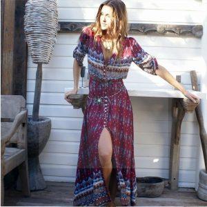 Hippie chic winter maxi dress