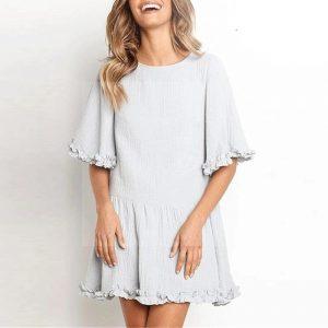 Bohemian style short white dress